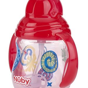 Nuby Pahar cu pai si manere Flip-it / Click - Lock / 360 * Straw 270 ml +12 Red