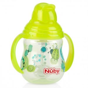 Nuby Pahar cu pai si manere Flip-it / Click - Lock / 360 * Straw 270 ml +12 Green