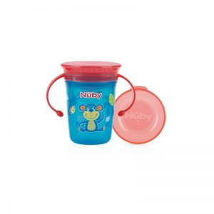 Nuby Wonder Cup 360 decorat cu manere 240ml +6 Blue